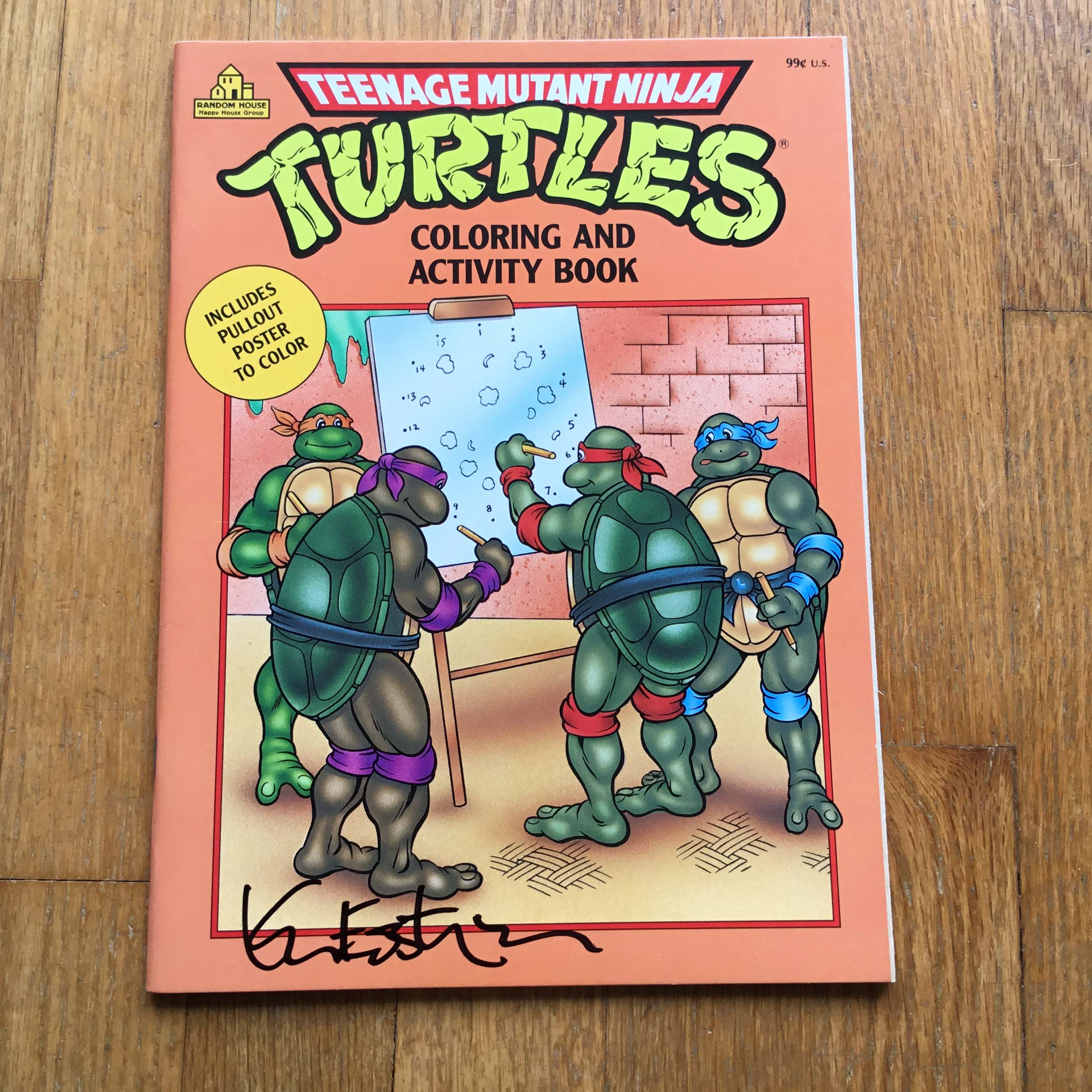 1990 tmnt coloring activity book orange signed eastman - Tmnt Coloring Book