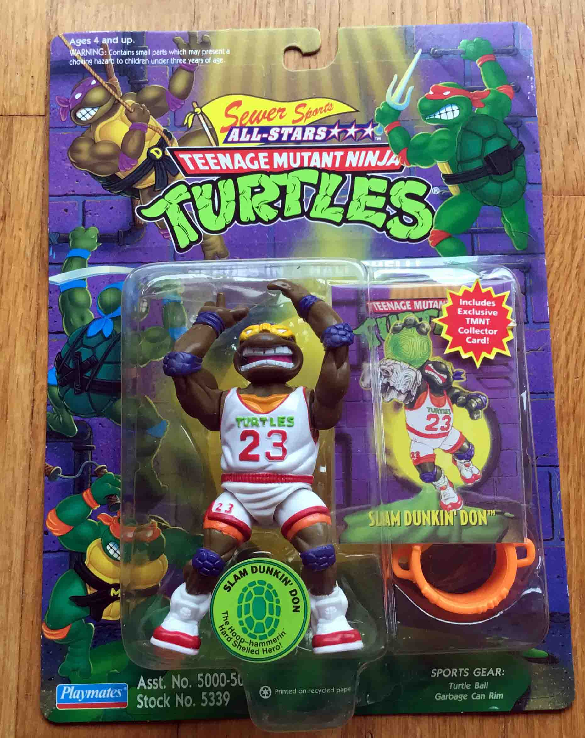 1994 TMNT Slam Dunkin Don White Jersey Exclusive Walmart Repaint Variant MOC