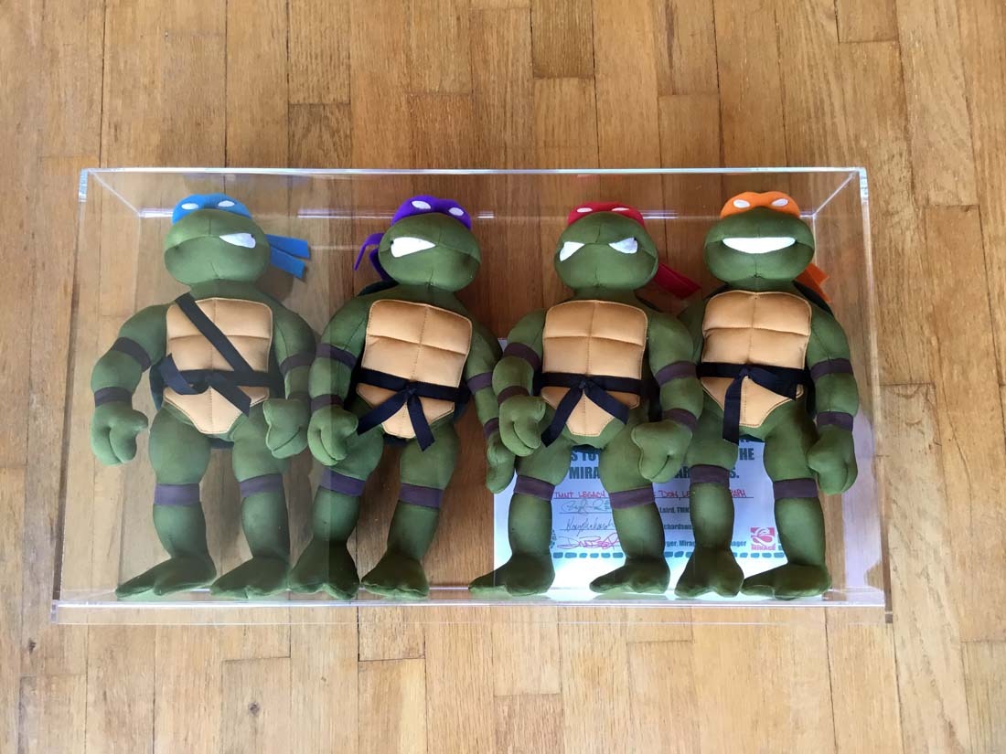 "The only known ones to exist! Original 15"" tall legacy prototype samples of a plush line in 1989 that never came to be. High quality stitching, wire frame limbs. From Peter Laird's personal collection in his offices. These are the only prototype toys I own and I must say they are super high quality and would have been expensive for sure if ever put into production. Legacy sample copyright tag for future production"