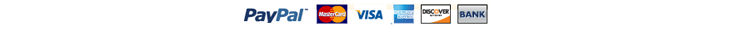 We accept Paypal, Visa, Mastercard, American Express, Discover, and your atm bank debit card.